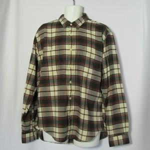 J.Crew Factory Flannel XL Work Shirt Wht Red Green